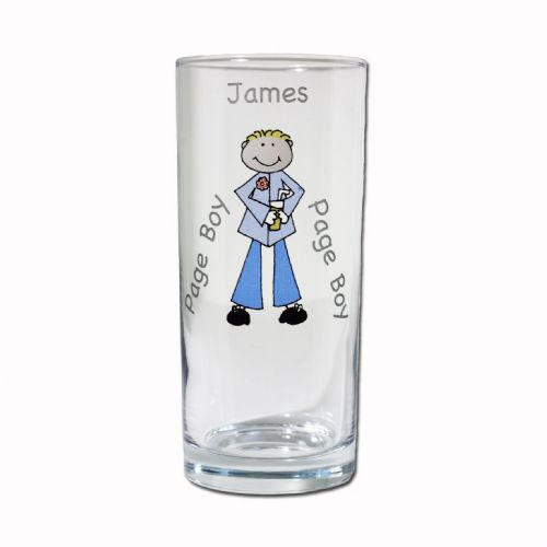 Personalised Cartoon Wedding Young Male Hi-Ball Glass